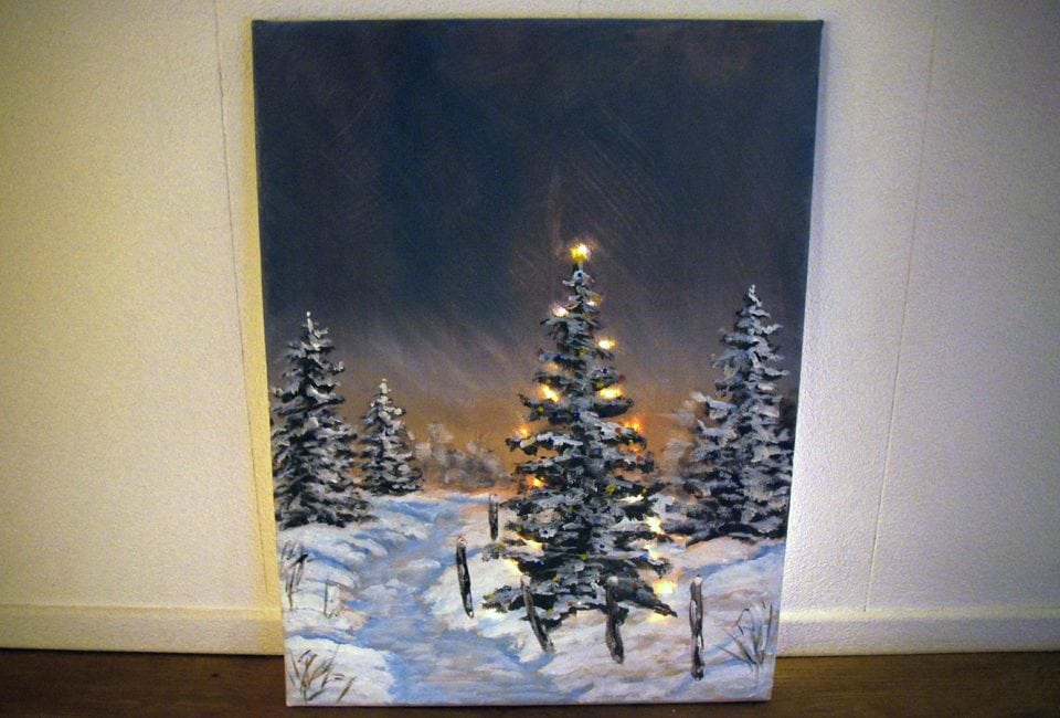 Kerst DIY | Kerst schilderij met LED verlichting | Momambition.nl ...