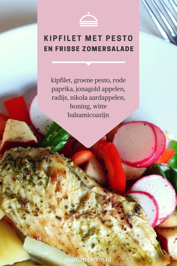 Recept   Kipfilet met pesto en zomersalade momambition.nl Hellofresh