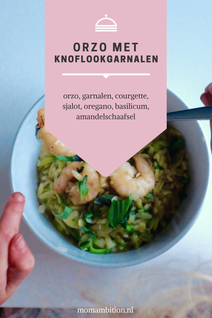 Recept   Orzo met knoflookgarnalen en courgette momambition.nl hellofresh